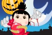 Une petite fille ramasse des bonbons et évite les fantômes