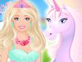Barbie pose avec une licorne