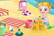 Nounou pour bébé à la plage