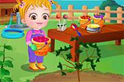 Garde un bébé qui fait du jardinage