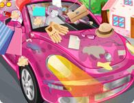 Laver une voiture toute neuve rose