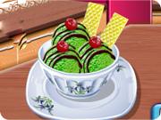 Dessert glacé à base de thé vert