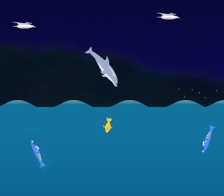 Un dauphin nage et saute