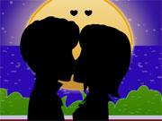 Bisous romantiques au clair de lune