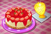 Gâteau américain cheesecake aux fraises