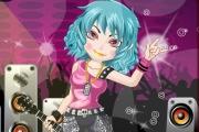 Une chanteuse de rock s'habille pour monter sur scène